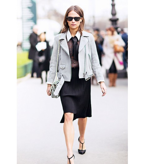 56b34a66a58a4 Even a gray jacket can make an all-black outfit feel appropriate for both  spring and daytime.