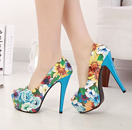 Tropical Floral Heels Blue