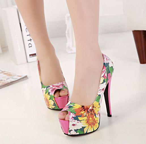 Tropical Floral Heels Pink